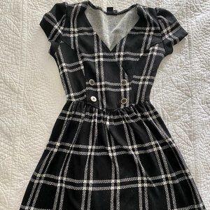 UO Urban Renewal Black and White Plaid Dress